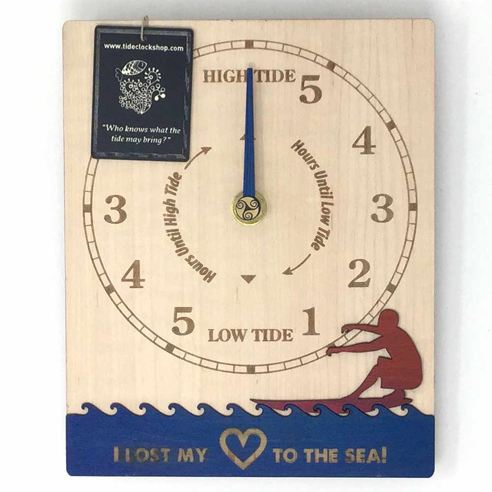 Surfer Tide clock Hand painted and customizeable